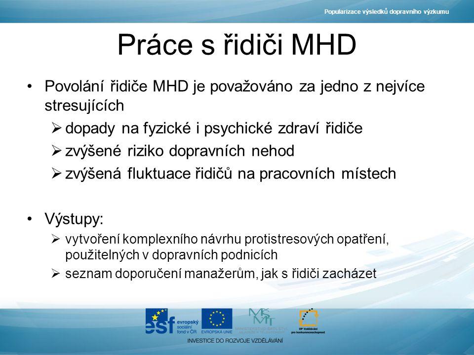 Práce s řidiči MHD Povolání řidiče MHD je považováno za jedno z nejvíce stresujících  dopady na fyzické i psychické zdraví řidiče  zvýšené riziko do