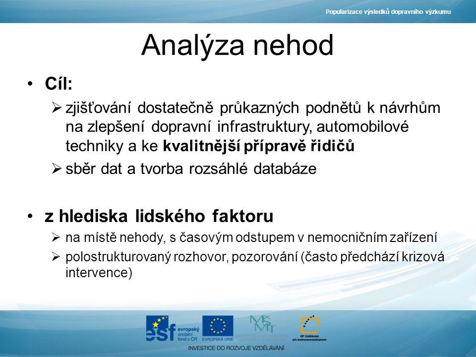 Analýza nehod Cíl:  zjišťování dostatečně průkazných podnětů k návrhům na zlepšení dopravní infrastruktury, automobilové techniky a ke kvalitnější př