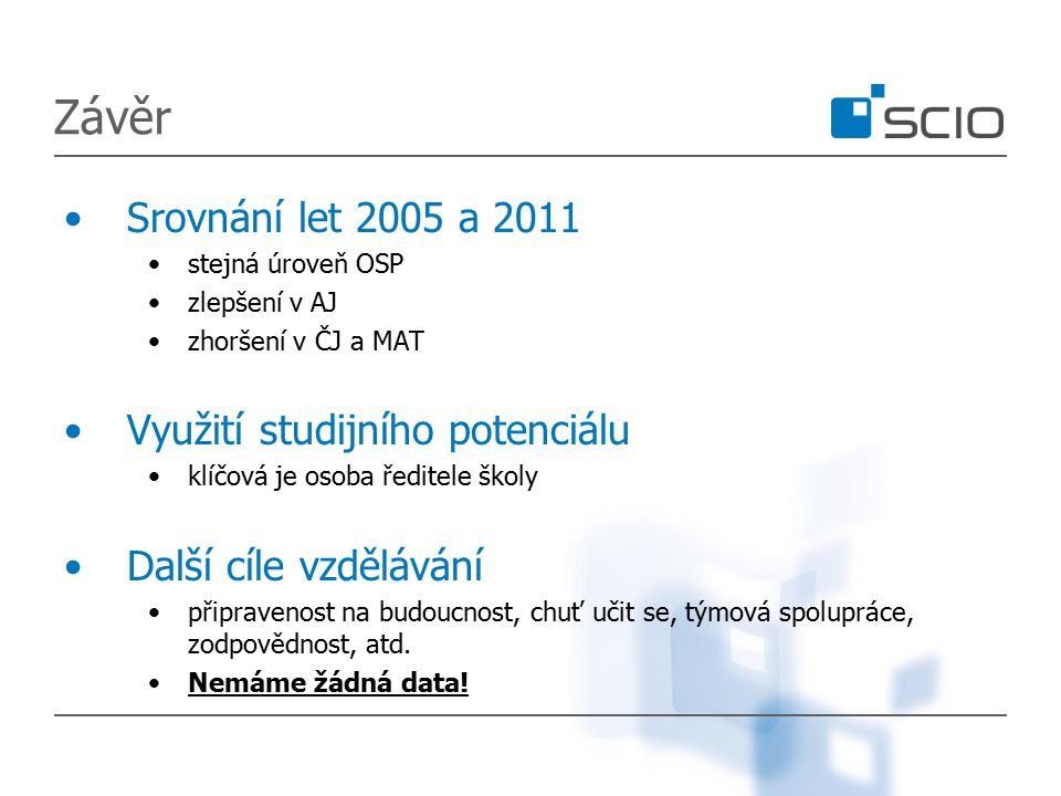 Závěr Srovnání let 2005 a 2011 stejná úroveň OSP zlepšení v AJ zhoršení v ČJ a MAT Využití studijního potenciálu klíčová je osoba ředitele školy Další