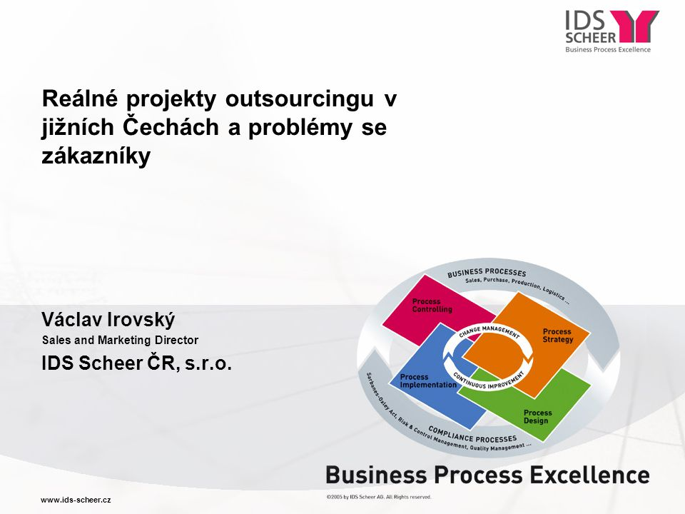 www.ids-scheer.cz Václav Irovský Sales and Marketing Director IDS Scheer ČR, s.r.o.