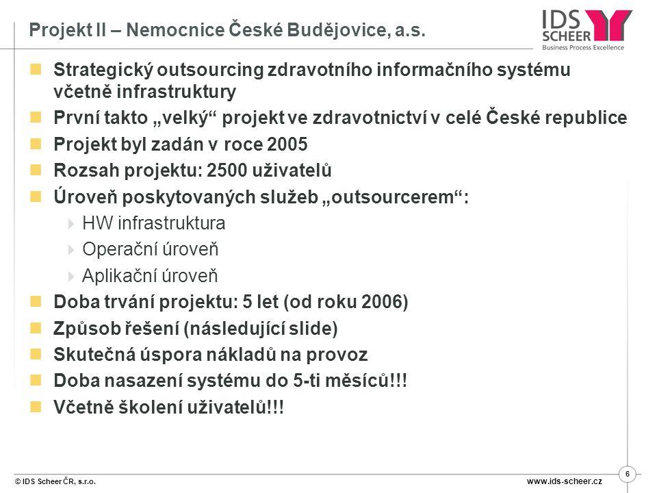 © IDS Scheer ČR, s.r.o.www.ids-scheer.cz 6 Projekt II – Nemocnice České Budějovice, a.s.