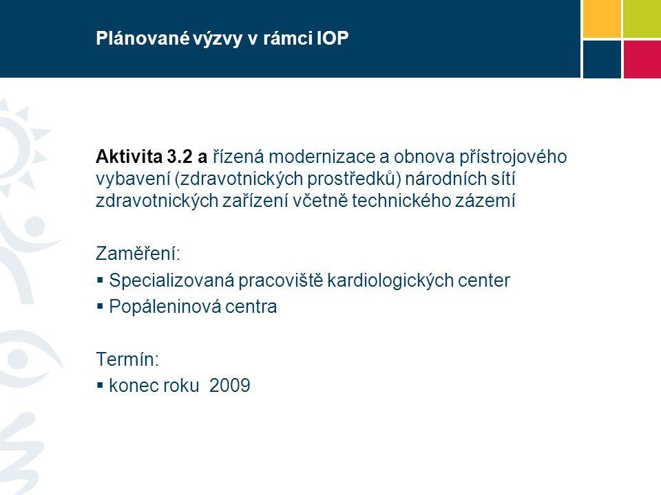 Plánované výzvy v rámci IOP Aktivita 3.2 a řízená modernizace a obnova přístrojového vybavení (zdravotnických prostředků) národních sítí zdravotnických zařízení včetně technického zázemí Zaměření:  Specializovaná pracoviště kardiologických center  Popáleninová centra Termín:  konec roku 2009