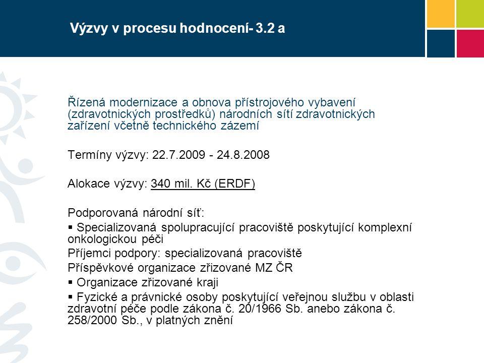 Výzvy v procesu hodnocení- 3.2 a Řízená modernizace a obnova přístrojového vybavení (zdravotnických prostředků) národních sítí zdravotnických zařízení včetně technického zázemí Termíny výzvy: 22.7.2009 - 24.8.2008 Alokace výzvy: 340 mil.