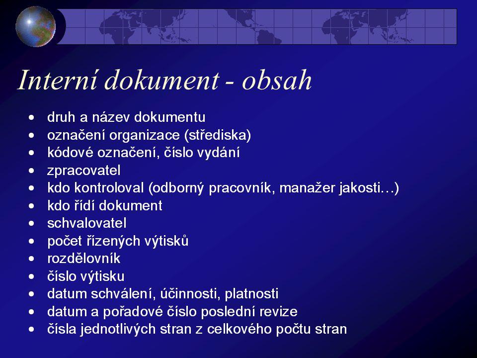 Interní dokument - obsah