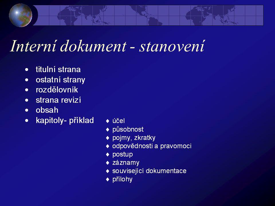 Interní dokument - stanovení