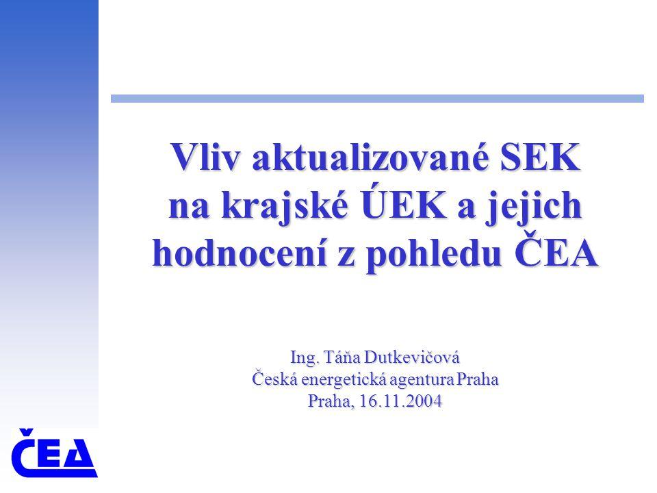 Vliv aktualizované SEK na krajské ÚEK a jejich hodnocení z pohledu ČEA Ing.