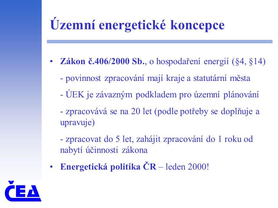 Územní energetické koncepce Zákon č.406/2000 Sb., o hospodaření energií (§4, §14) - povinnost zpracování mají kraje a statutární města - ÚEK je závazným podkladem pro územní plánování - zpracovává se na 20 let (podle potřeby se doplňuje a upravuje) - zpracovat do 5 let, zahájit zpracování do 1 roku od nabytí účinnosti zákona Energetická politika ČR – leden 2000!