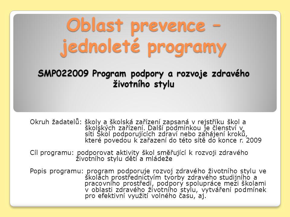 Oblast prevence – jednoleté programy SMP022009 Program podpory a rozvoje zdravého životního stylu Okruh žadatelů: školy a školská zařízení zapsaná v rejstříku škol a školských zařízení.