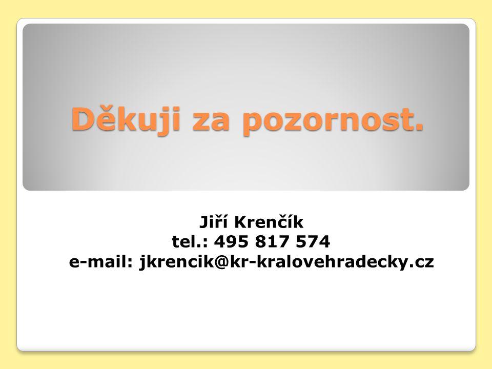 Děkuji za pozornost. Jiří Krenčík tel.: 495 817 574 e-mail: jkrencik@kr-kralovehradecky.cz