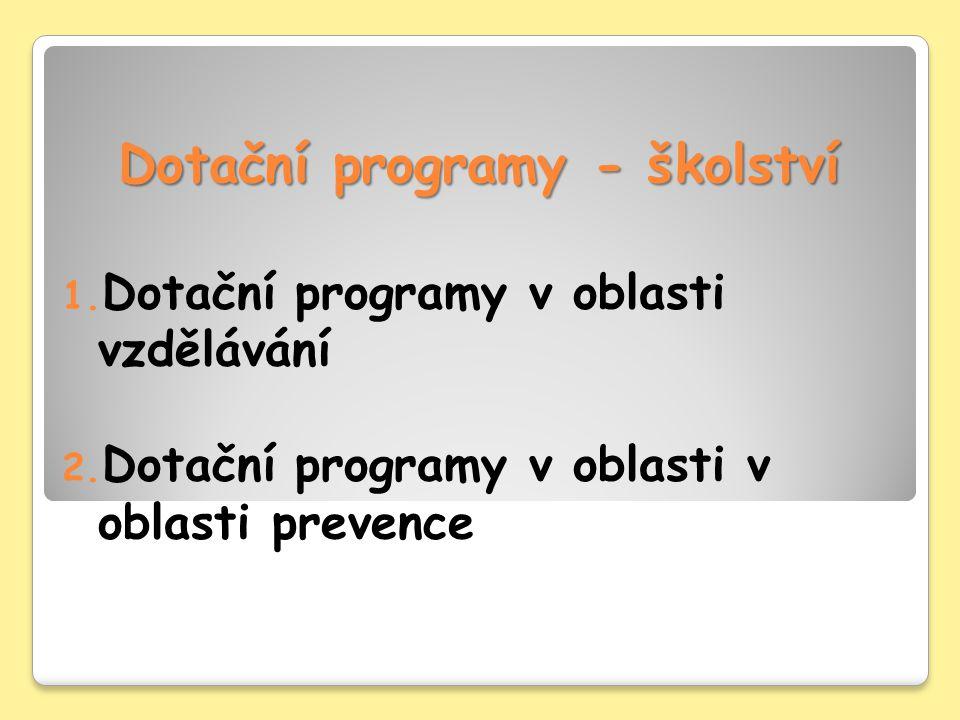 Oblast prevence – jednoleté programy SMP012009 Program podpory rozvoje odborných znalostí a dovedností školních metodiků prevence a realizace preventivních programů Okruh žadatelů: občanské sdružení, obecně prospěšná společnost, příspěvková organizace, školská právnická osoba, fyzická osoba, která je samostatnou účetní jednotkou, právnická osoba Cíl programu: zefektivnění a zkvalitnění působení školních metodiků prevence a realizace preventivních programů na školách v návaznosti na získané odborné znalosti a dovednosti školních metodiků prevence Popis programu: program podporuje přípravu, odborné vzdělávání a supervizní činnost v oblasti prevence společensky nežádoucích jevů u dětí a mládeže pro školní metodiky prevence