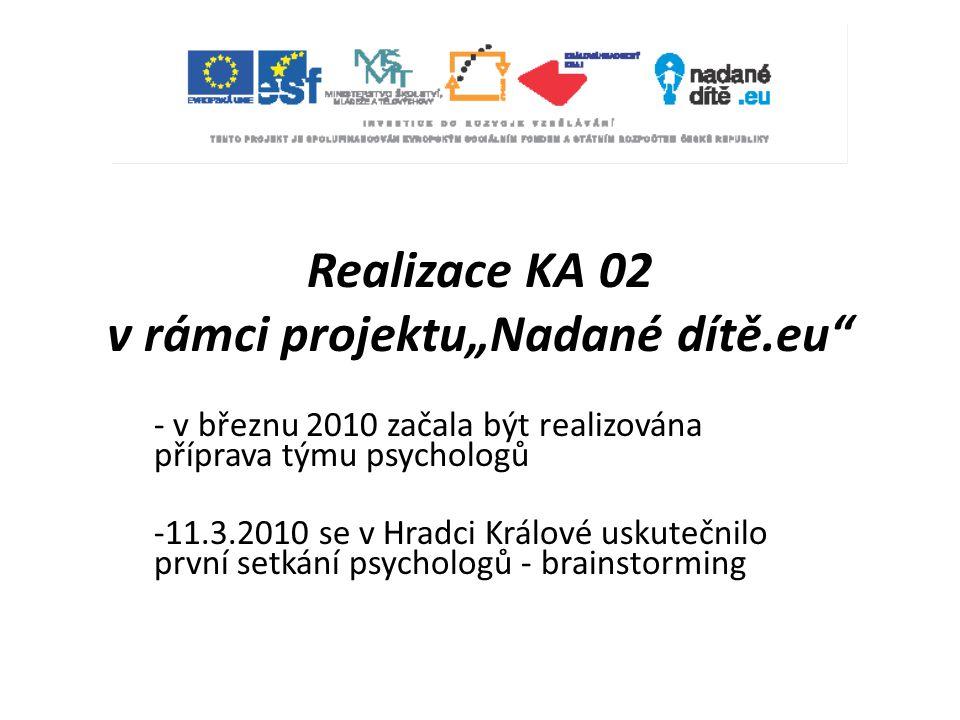 """Realizace KA 02 v rámci projektu""""Nadané dítě.eu"""" - v březnu 2010 začala být realizována příprava týmu psychologů -11.3.2010 se v Hradci Králové uskute"""