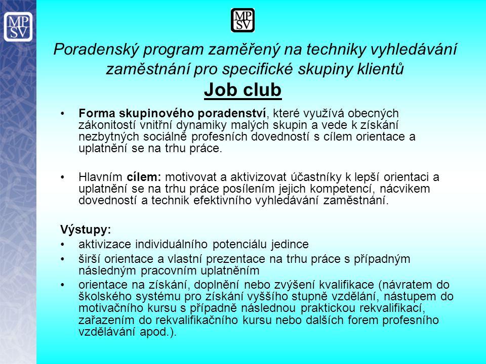 Job club Forma skupinového poradenství, které využívá obecných zákonitostí vnitřní dynamiky malých skupin a vede k získání nezbytných sociálně profesn