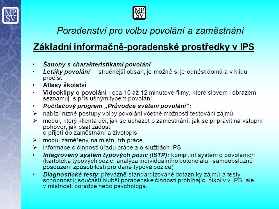 Poradenství specializační Specializační poradenství jsou poskytované speciální poradenské služby zaměřené na řešení specifických osobnostních, sociálních a zdravotních problémů klientů souvisejících s nezaměstnaností v rozsahu přizpůsobeném podmínkám daného regionu zabezpečované pouze specialisty (psycholog, sociolog, lékař) výstupy:  diagnostické posudky poskytující odborné informace a doporučení, která si vyžádá zprostředkovatel, klient, nebo zaměstnavatel,  analýzy specifických skupin uchazečů o zaměstnání v regionu  spolupráce na studiích rozvoje profesí  posuzování chráněných dílen a pracovišť  zařazovaní do různých forem pracovní rehabilitace na základě naplňování Individuálního plánu pracovní rehabilitace