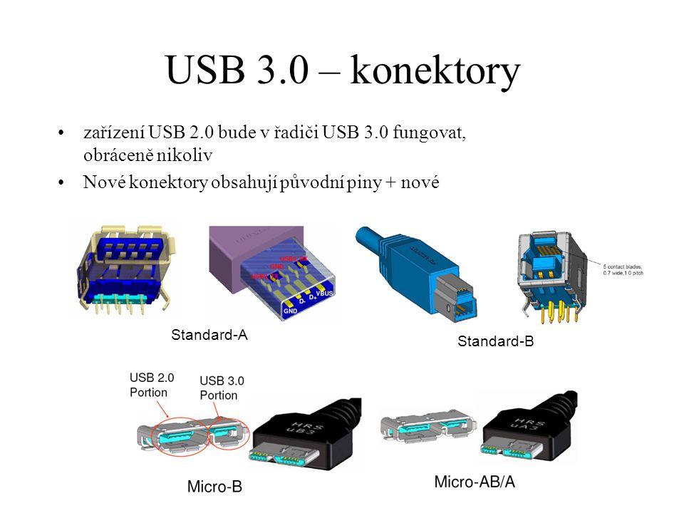 USB 3.0 – konektory zařízení USB 2.0 bude v řadiči USB 3.0 fungovat, obráceně nikoliv Nové konektory obsahují původní piny + nové Standard-A Standard-