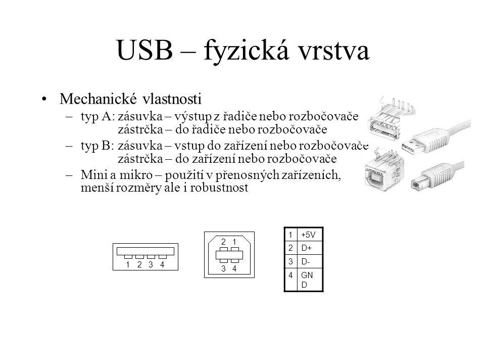 USB – fyzická vrstva Elektrické vlastnosti –kabel má 4 vodiče, pro full a high speed musí být datový pár kroucený, charakteristická impedance 90  –zařízení je možné napájet datovým kabelem, ale musí mít spotřebu < 500 mA a schopnost přejít do úsporného režimu –klidový stav datového páru (kabel odpojen) je na straně řadiče definován dvěma pull-down rezistory a na straně zařízení jedním pull-up rezistorem –zařízení se identifikuje jako low nebo full speed podle toho, jestli má pull-up rezistor připojen na D+ nebo D-, to také určuje počáteční podmínku pro výpočet NRZI, viz dále pull-up D+pull-up D- low-speed– 1,5k  full-speed 1,5k  –