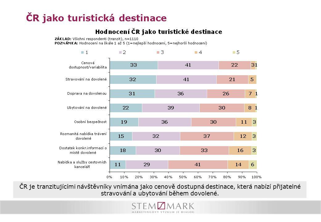 ČR je tranzitujícími návštěvníky vnímána jako cenově dostupná destinace, která nabízí přijatelné stravování a ubytování během dovolené. ČR jako turist