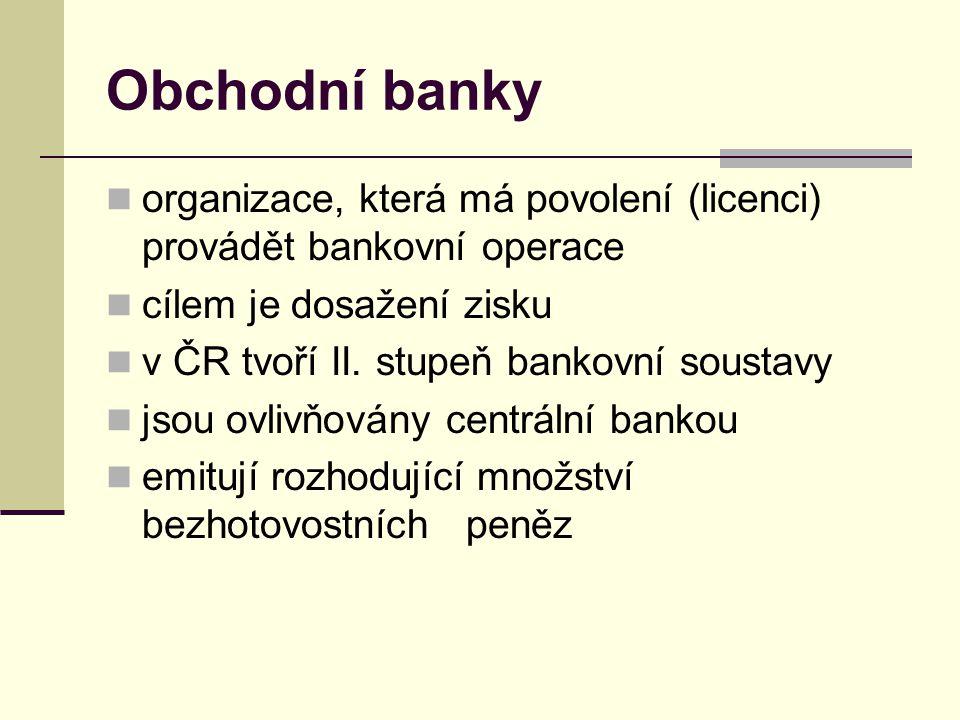 Obchodní banky organizace, která má povolení (licenci) provádět bankovní operace cílem je dosažení zisku v ČR tvoří II.