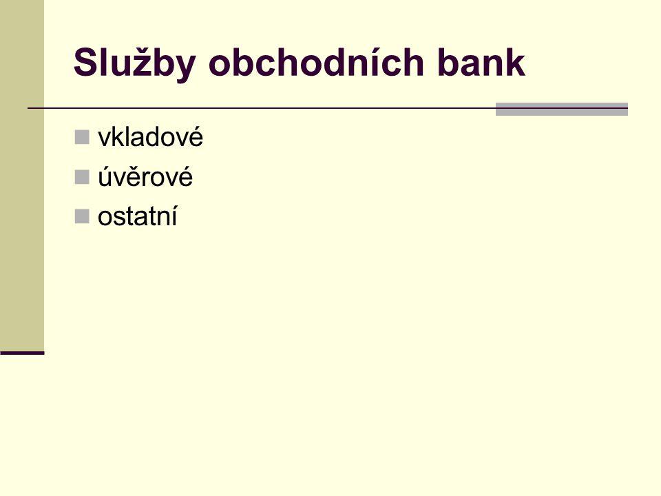 Služby obchodních bank vkladové úvěrové ostatní