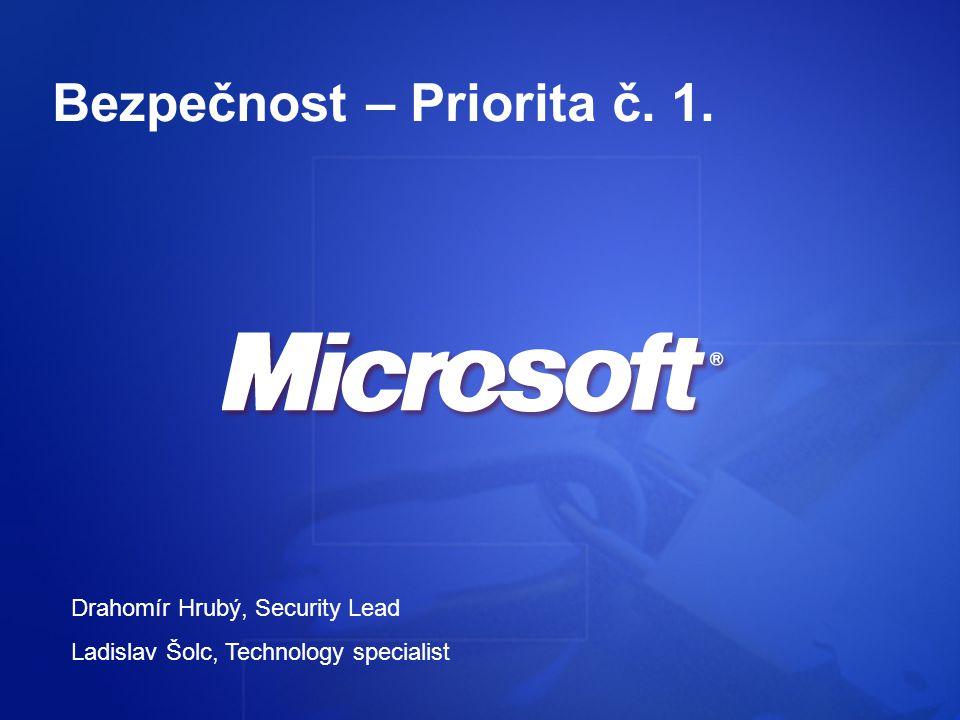 Bezpečnost – Priorita č. 1. Drahomír Hrubý, Security Lead Ladislav Šolc, Technology specialist