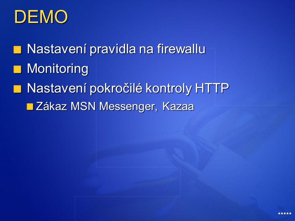DEMO Nastavení pravidla na firewallu Monitoring Nastavení pokročilé kontroly HTTP Zákaz MSN Messenger, Kazaa *****