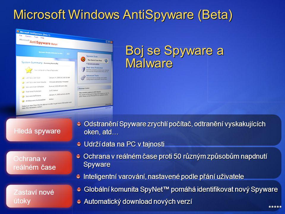 Microsoft Windows AntiSpyware (Beta) Globální komunita SpyNet™ pomáhá identifikovat nový Spyware Automatický download nových verzí Odstranění Spyware zrychlí počítač, odtranění vyskakujících oken, atd… Udrží data na PC v tajnosti Ochrana v reálném čase proti 50 různým způsobům napdnutí Spyware Inteligentní varování, nastavené podle přání uživatele Hledá spyware Boj se Spyware a Malware Ochrana v reálném čase Zastaví nové útoky *****