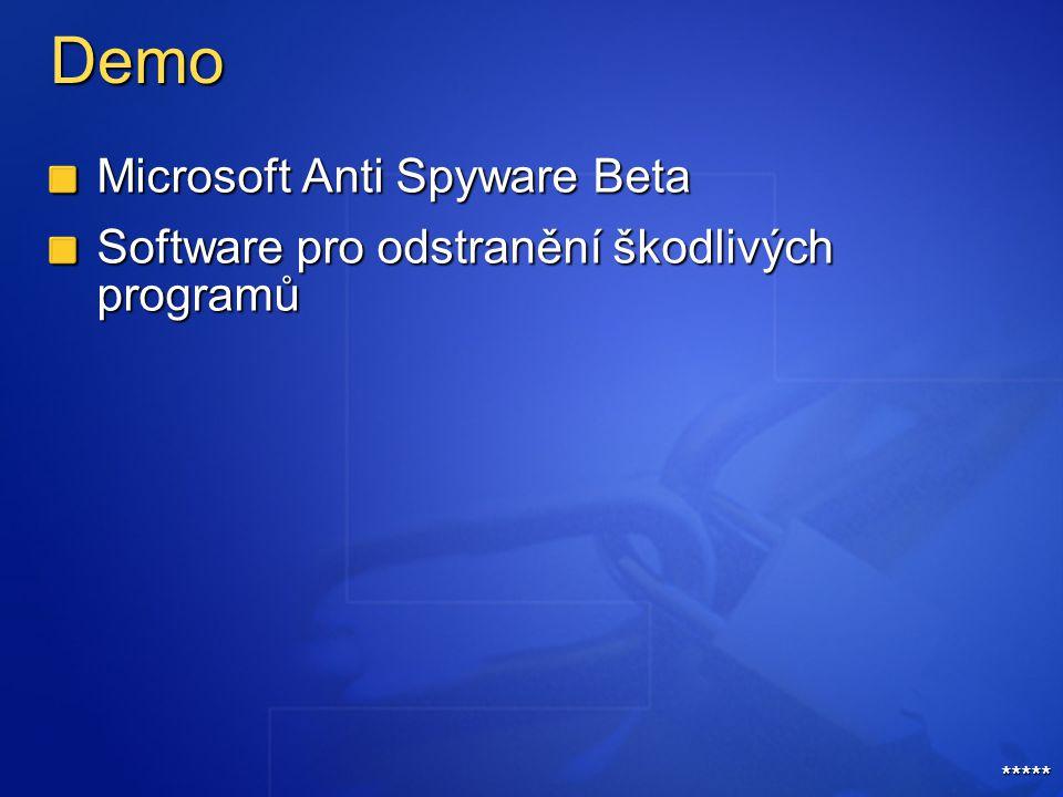 Demo Microsoft Anti Spyware Beta Software pro odstranění škodlivých programů *****