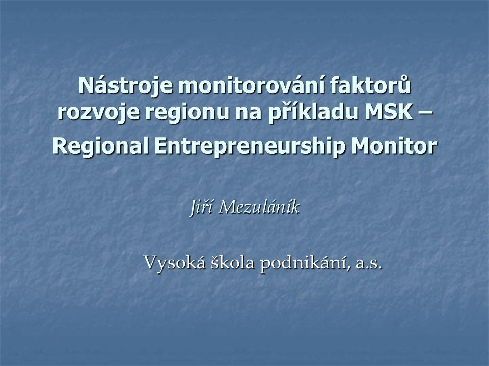 Nástroje monitorování faktorů rozvoje regionu na příkladu MSK – Regional Entrepreneurship Monitor Jiří Mezuláník Vysoká škola podnikání, a.s.