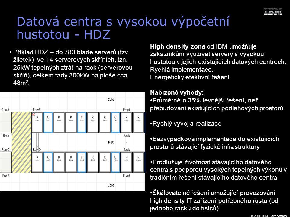 © 2010 IBM Corporation Datová centra s vysokou výpočetní hustotou - HDZ High density zona od IBM umožňuje zákazníkům využívat servery s vysokou hustotou v jejich existujících datových centrech.