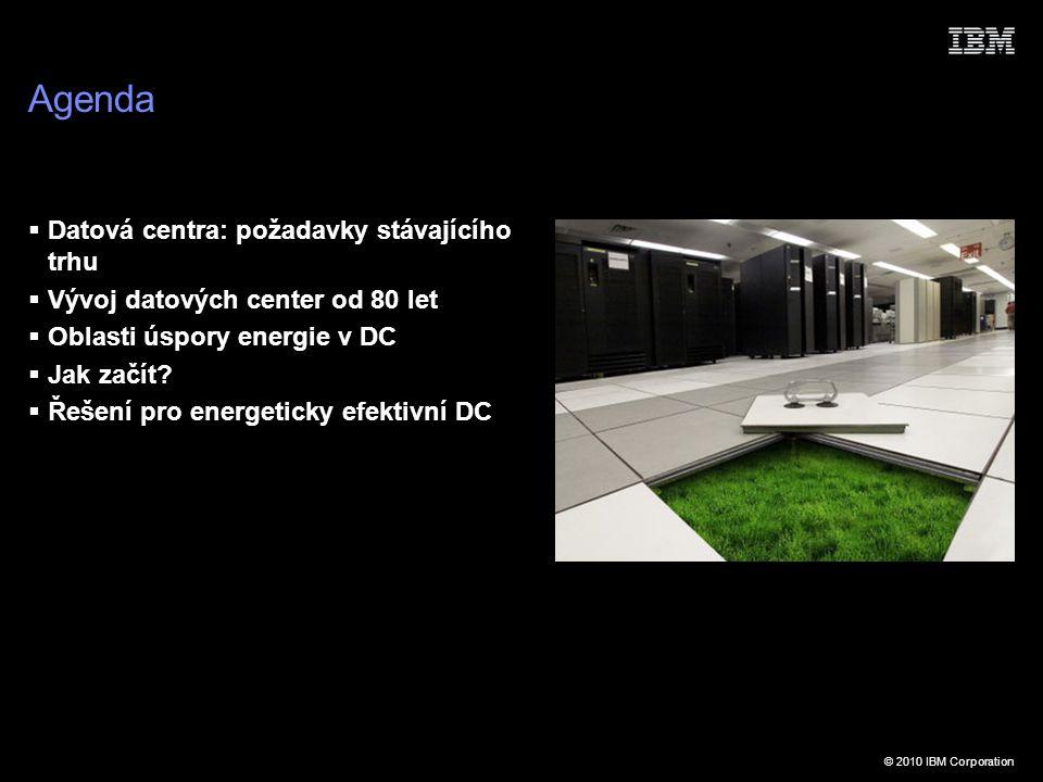 © 2010 IBM Corporation Agenda  Datová centra: požadavky stávajícího trhu  Vývoj datových center od 80 let  Oblasti úspory energie v DC  Jak začít.