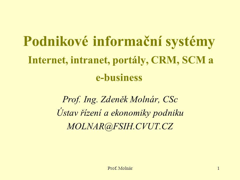 Prof. Molnár1 Podnikové informační systémy Internet, intranet, portály, CRM, SCM a e-business Prof. Ing. Zdeněk Molnár, CSc Ústav řízení a ekonomiky p