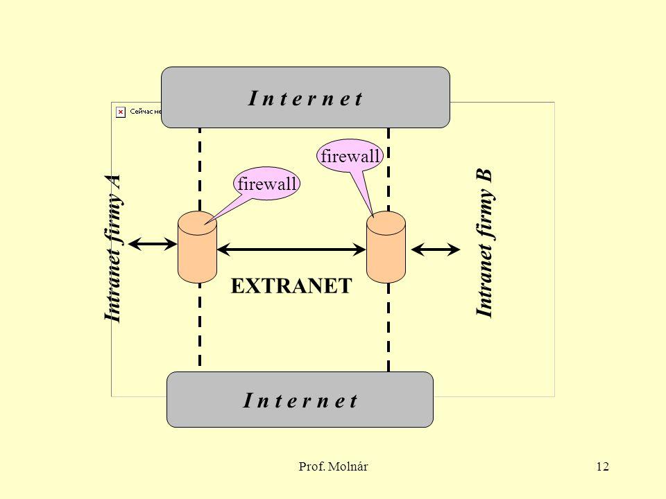 Prof. Molnár12 Intranet firmy A Intranet firmy B EXTRANET I n t e r n e t firewall