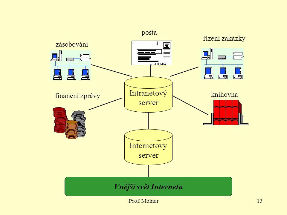 Prof. Molnár13 Intranetový server Internetový server pošta knihovna řízení zakázky zásobování finanční zprávy Vnější svět Internetu