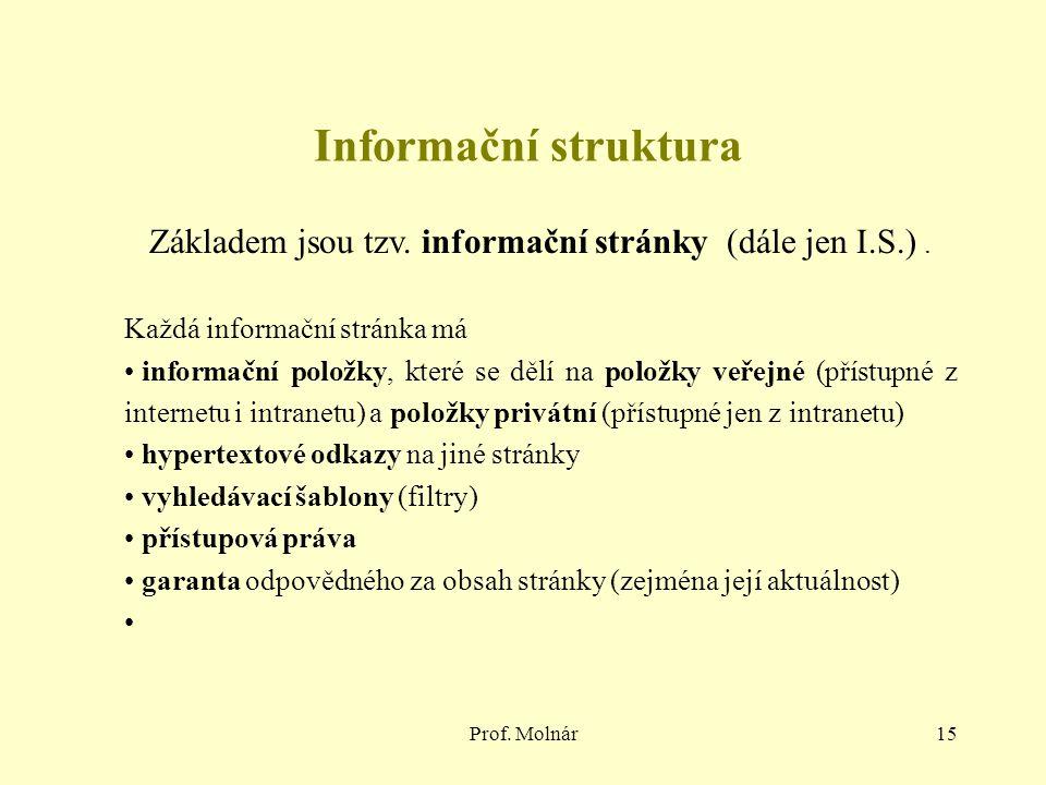 Prof. Molnár15 Informační struktura Základem jsou tzv. informační stránky (dále jen I.S.). Každá informační stránka má informační položky, které se dě