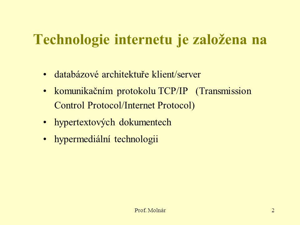 Prof. Molnár2 Technologie internetu je založena na databázové architektuře klient/server komunikačním protokolu TCP/IP (Transmission Control Protocol/