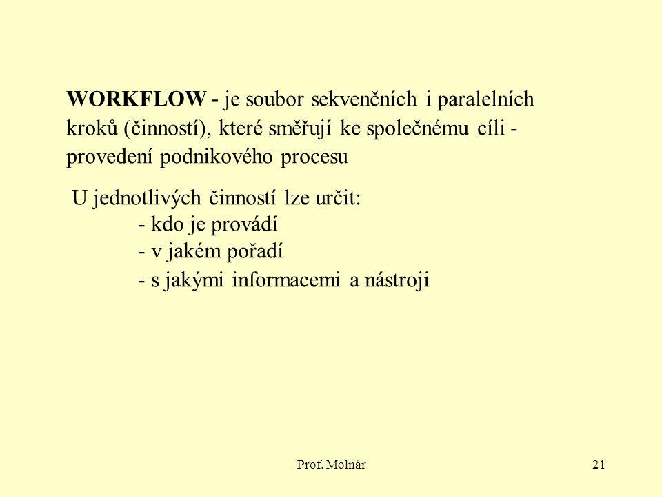 Prof. Molnár21 WORKFLOW - je soubor sekvenčních i paralelních kroků (činností), které směřují ke společnému cíli - provedení podnikového procesu U jed