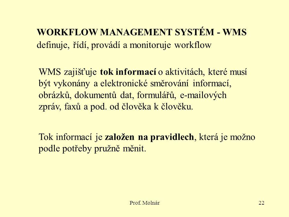Prof. Molnár22 WORKFLOW MANAGEMENT SYSTÉM - WMS definuje, řídí, provádí a monitoruje workflow WMS zajišťuje tok informací o aktivitách, které musí být