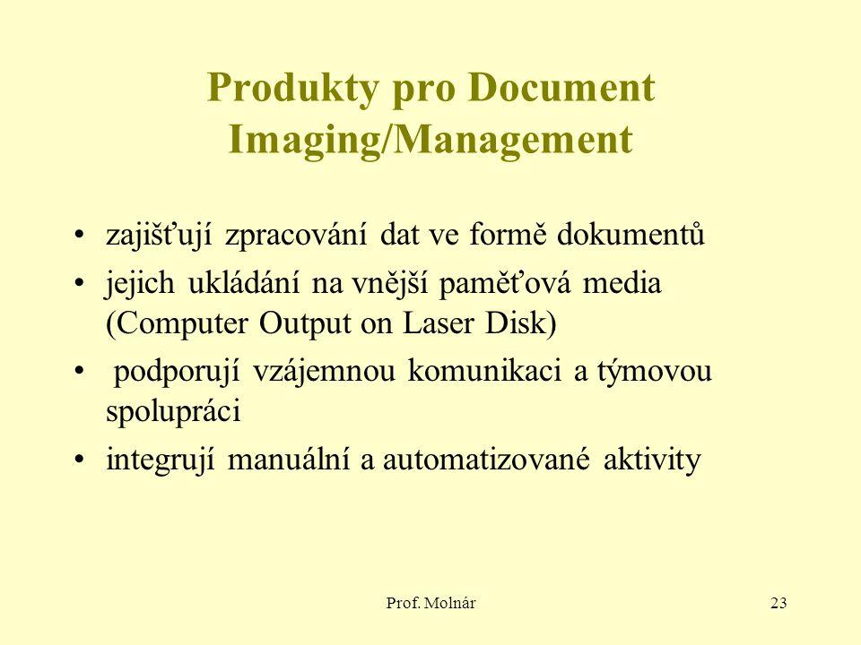 Prof. Molnár23 Produkty pro Document Imaging/Management zajišťují zpracování dat ve formě dokumentů jejich ukládání na vnější paměťová media (Computer