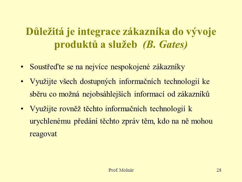 Prof. Molnár28 Důležitá je integrace zákazníka do vývoje produktů a služeb (B. Gates) Soustřeďte se na nejvíce nespokojené zákazníky Využijte všech do