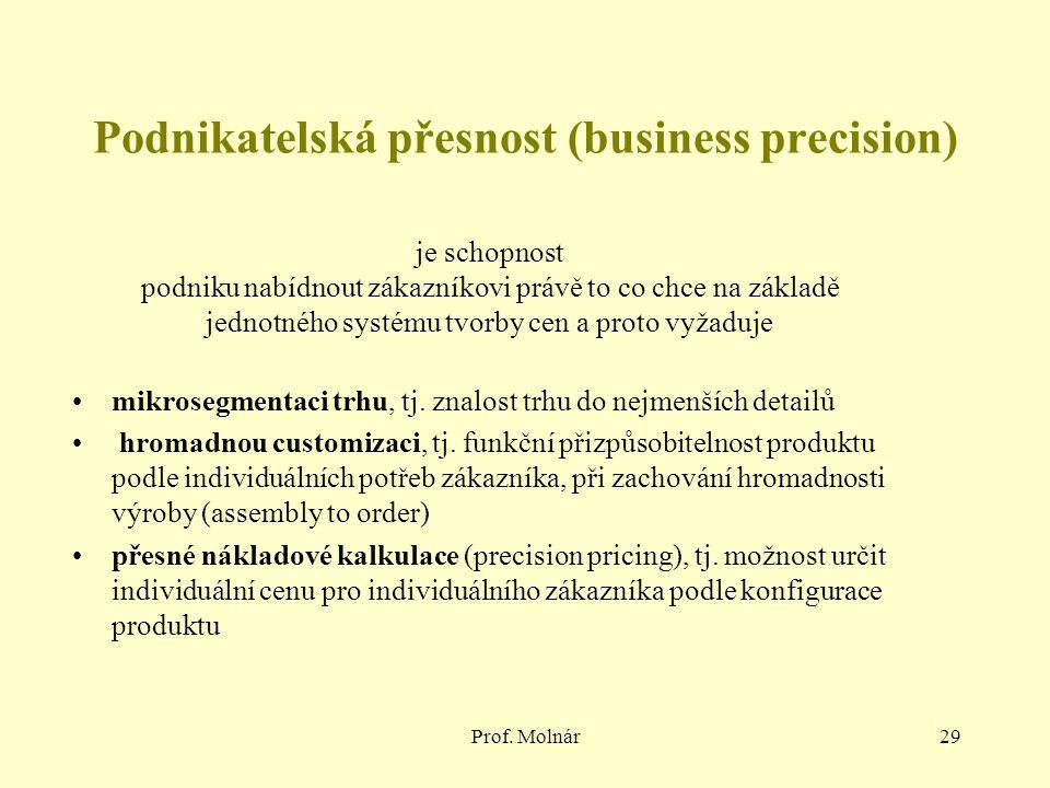 Prof. Molnár29 Podnikatelská přesnost (business precision) mikrosegmentaci trhu, tj. znalost trhu do nejmenších detailů hromadnou customizaci, tj. fun