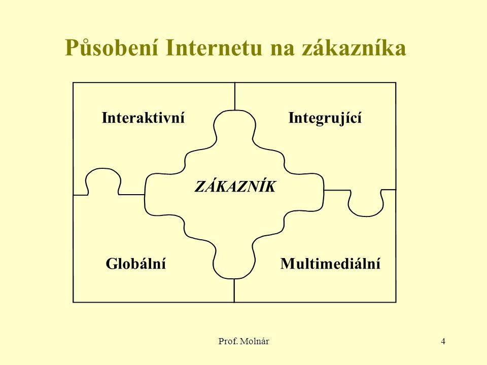Prof. Molnár4 Integrující ZÁKAZNÍK Interaktivní GlobálníMultimediální Působení Internetu na zákazníka