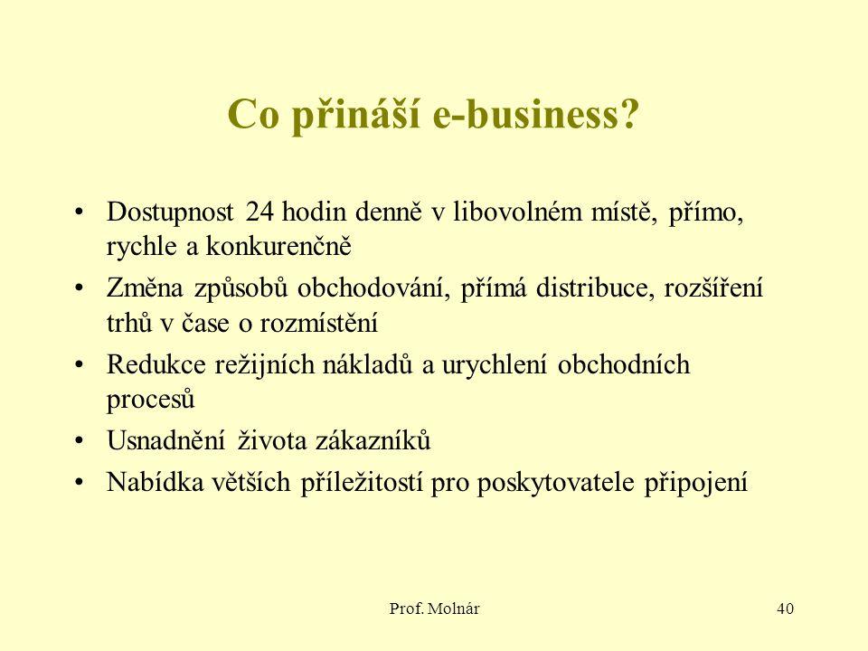 Prof. Molnár40 Co přináší e-business? Dostupnost 24 hodin denně v libovolném místě, přímo, rychle a konkurenčně Změna způsobů obchodování, přímá distr