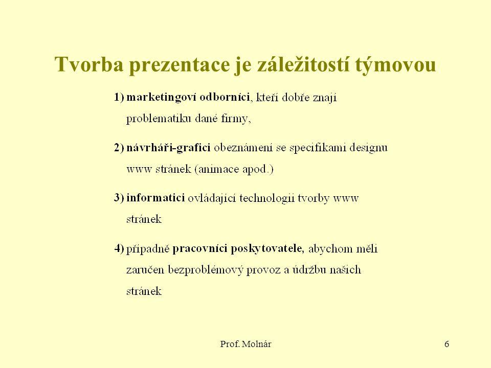 Prof. Molnár6 Tvorba prezentace je záležitostí týmovou