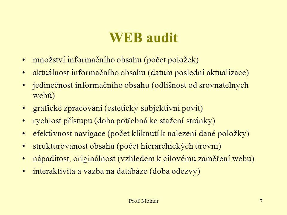 Prof. Molnár7 WEB audit množství informačního obsahu (počet položek) aktuálnost informačního obsahu (datum poslední aktualizace) jedinečnost informačn