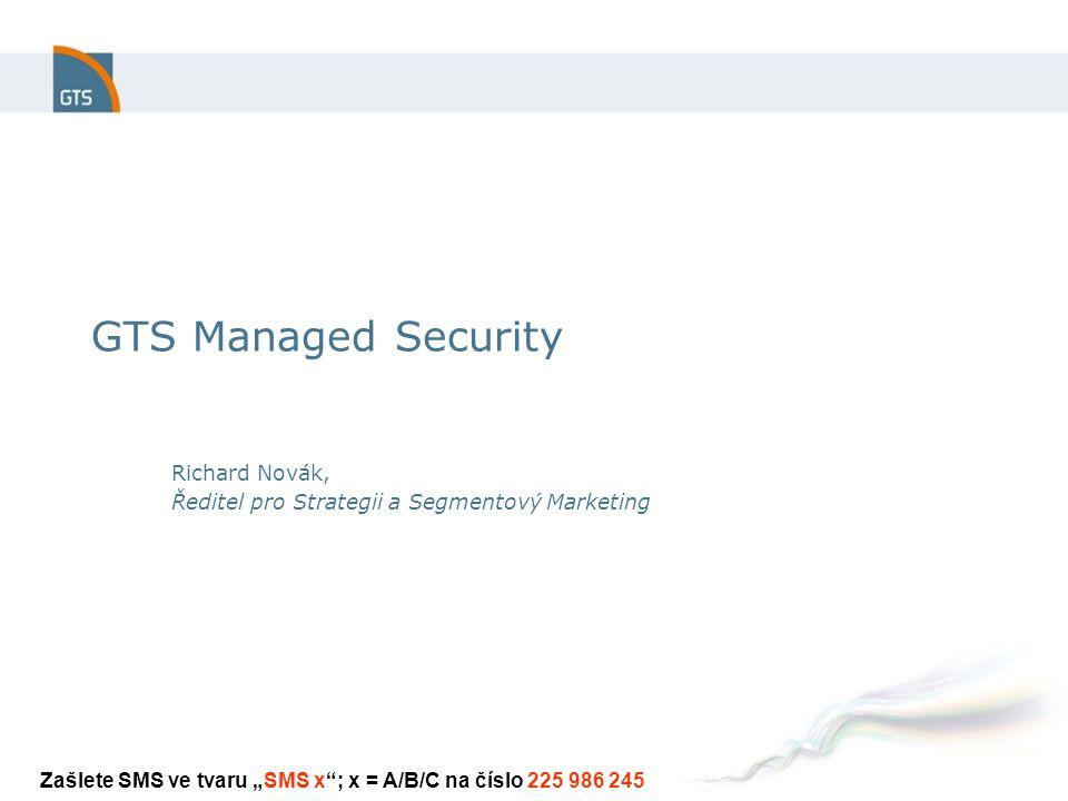 """GTS Managed Security Richard Novák, Ředitel pro Strategii a Segmentový Marketing Zašlete SMS ve tvaru """"SMS x ; x = A/B/C na číslo 225 986 245"""