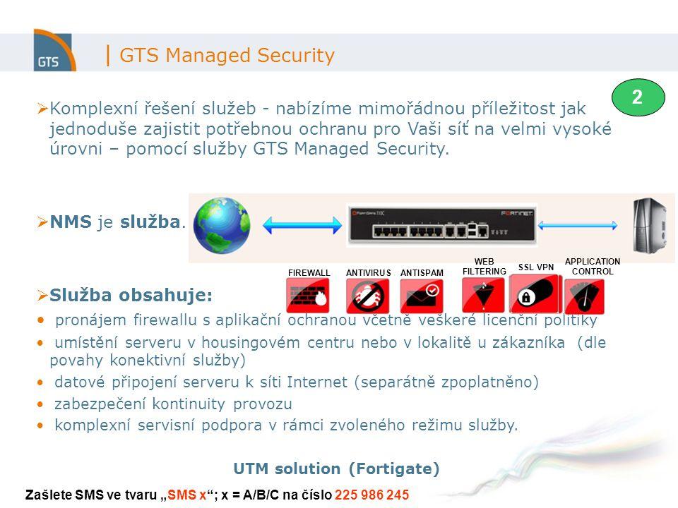 | GTS Managed Security  Komplexní řešení služeb - nabízíme mimořádnou příležitost jak jednoduše zajistit potřebnou ochranu pro Vaši síť na velmi vysoké úrovni – pomocí služby GTS Managed Security.