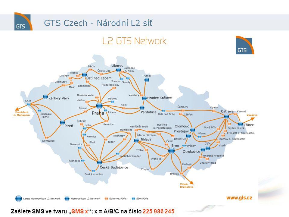 """GTS Czech - Národní L2 síť Zašlete SMS ve tvaru """"SMS x ; x = A/B/C na číslo 225 986 245"""