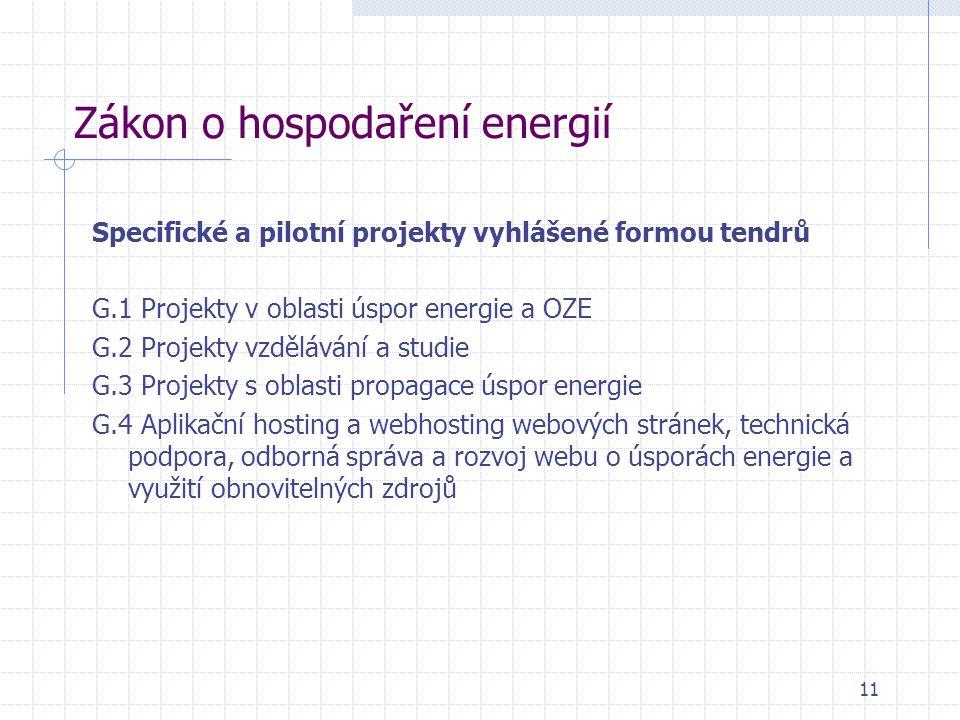 Zákon o hospodaření energií Specifické a pilotní projekty vyhlášené formou tendrů G.1 Projekty v oblasti úspor energie a OZE G.2 Projekty vzdělávání a