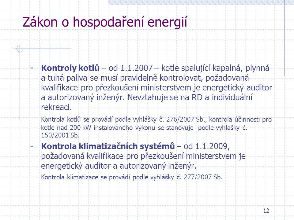 12 Zákon o hospodaření energií - Kontroly kotlů – od 1.1.2007 – kotle spalující kapalná, plynná a tuhá paliva se musí pravidelně kontrolovat, požadova