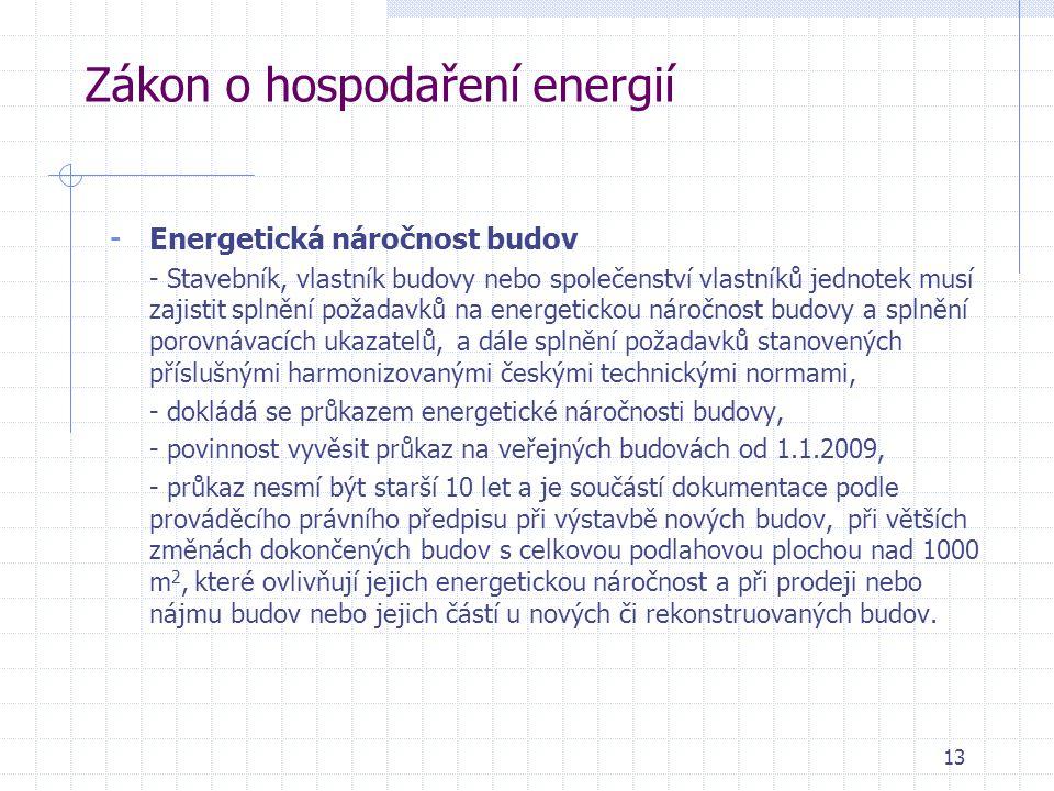13 Zákon o hospodaření energií - Energetická náročnost budov - Stavebník, vlastník budovy nebo společenství vlastníků jednotek musí zajistit splnění p
