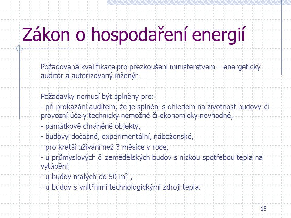 Zákon o hospodaření energií Požadovaná kvalifikace pro přezkoušení ministerstvem – energetický auditor a autorizovaný inženýr. Požadavky nemusí být sp
